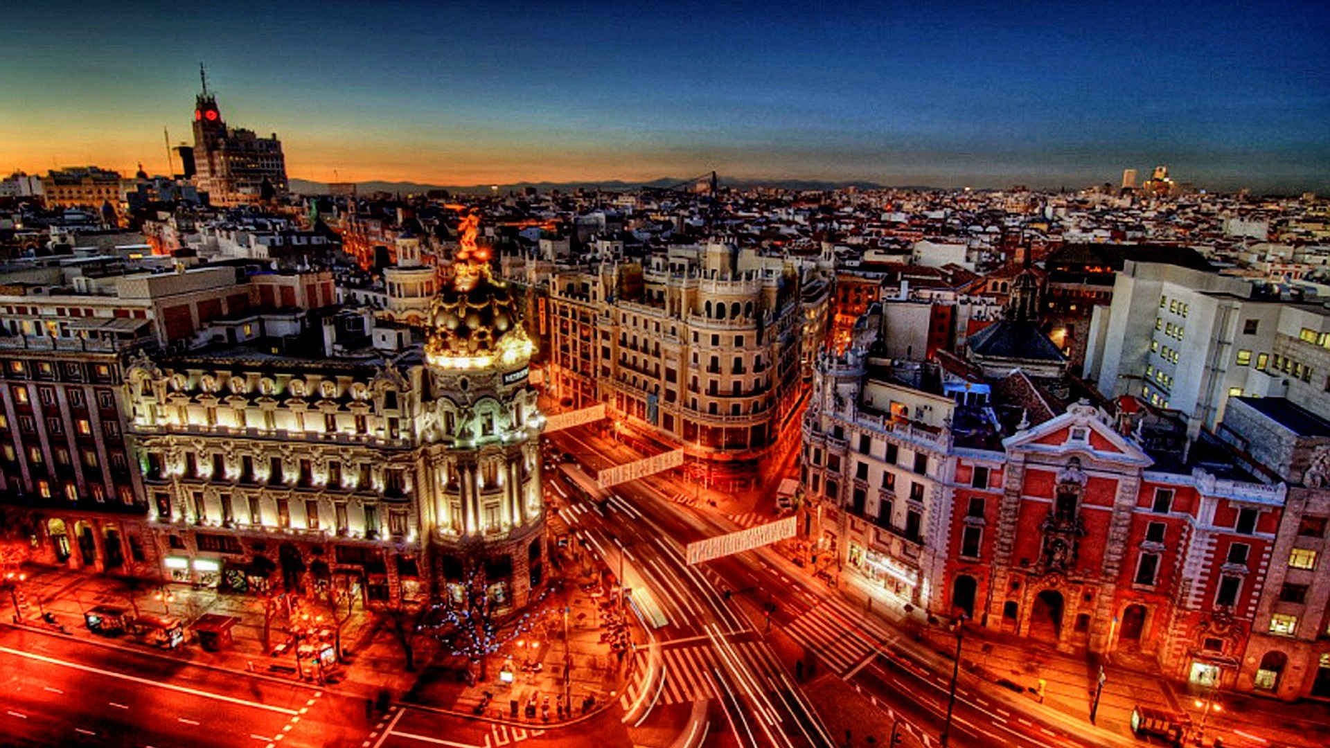 Madrid At Twilight HD Desktop Background
